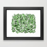 City Machine - Green Framed Art Print