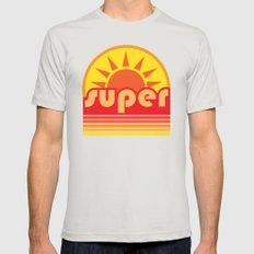 super duper Mens Fitted Tee Silver SMALL