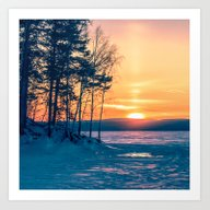 Winter Sunset And The Su… Art Print