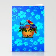 Island Time And Parrot Stationery Cards