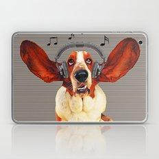 Basset Hound In Earphones Laptop & iPad Skin