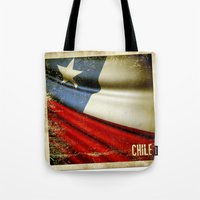 Chile grunge sticker flag Tote Bag