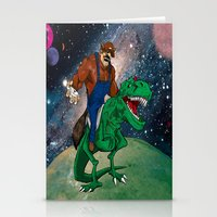 Raccoon Dino Rider.... Stationery Cards