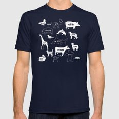 Animal Noises in Blue Mens Fitted Tee Navy SMALL