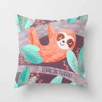 Hang in There Sloth Throw Pillow