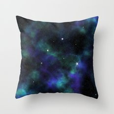 Blue Green Galaxy Throw Pillow