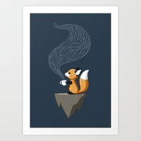 fox Art Prints featuring Fox Tea by Freeminds