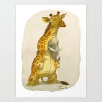 Elephant in a giraffe costume Art Print