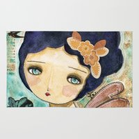 Charity Wings Watercolor Collage Rug