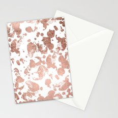 Luxurious faux rose gold foil brustrokes splatters Stationery Cards