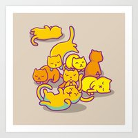 cats Art Prints featuring cats ! by parisian samurai studio