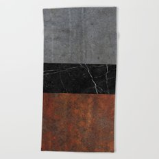 Concrete, Marble and Rusted Iron Abstract Beach Towel