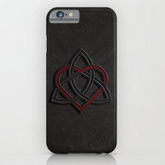 Celtic Knot Valentine Heart Black Leather iPhone 6s Slim Case