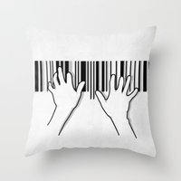 Barcode Pianist Throw Pillow