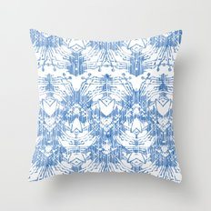 Ikat in blue Throw Pillow