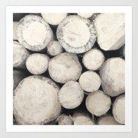Stack Of Wood Art Print