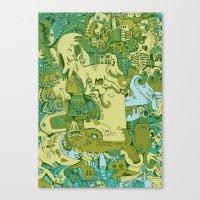Green Town Canvas Print