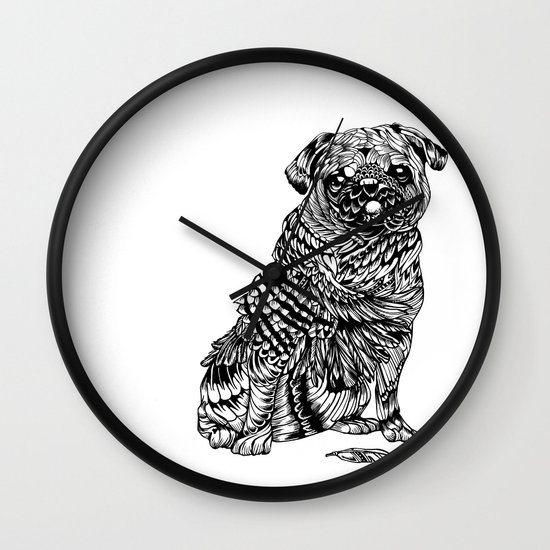 Pug Feather Wall Clock
