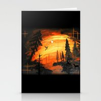 Fire Sunset Over River Stationery Cards