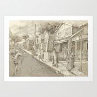 The Night Gardener - Grimloch Lane  Art Print