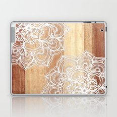 White doodles on blonde wood - neutral / nude colors Laptop & iPad Skin