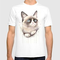 Grumpy Watercolor Cat Mens Fitted Tee White SMALL
