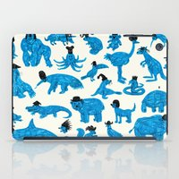 Blue Animals Black Hats iPad Case