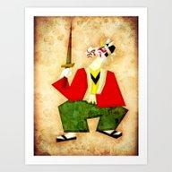 Unicorn Kabuki Art Print