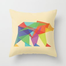 Fractal Geometric bear Throw Pillow