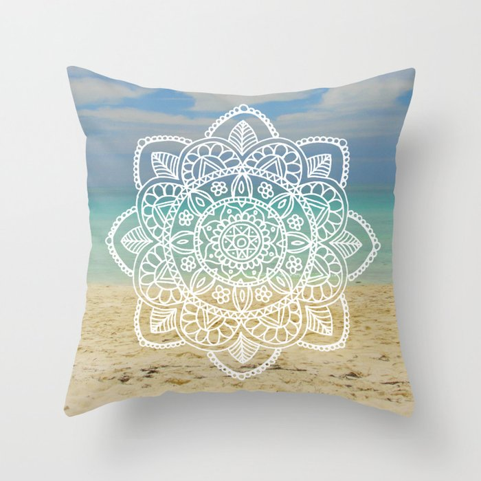 beach mandala cuba tropical boh wanderlust throw pillow