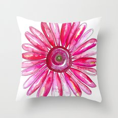 Pink Gerber Daisy Throw Pillow