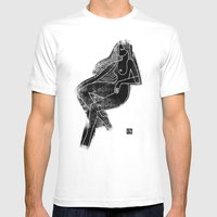 Seated Figure Black Mens Fitted Tee White SMALL