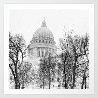 Snowy Capitol In Madison Art Print