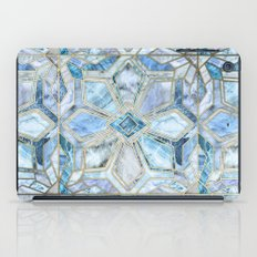 Geometric Gilded Stone Tiles in Soft Blues iPad Case