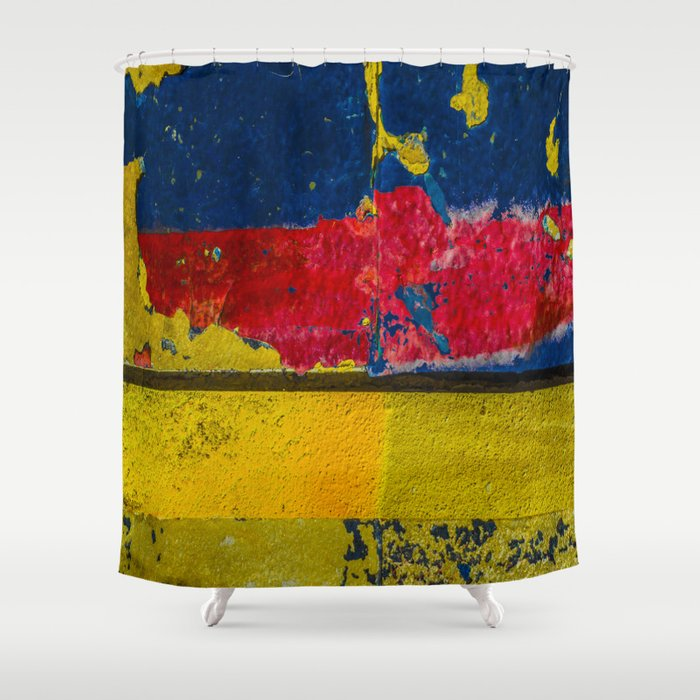 Blue Red And Yellow Shower Curtain By Claire Doherty