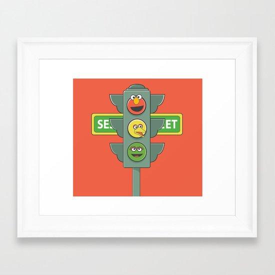 Sesame Traffic Light Framed Art Print