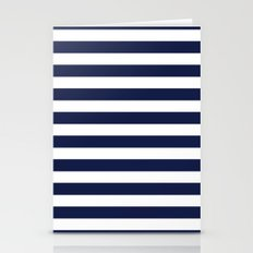 Stripe Horizontal Navy Blue Stationery Cards