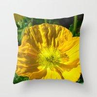 Golden Poppy Throw Pillow