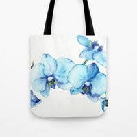Blue Orchids - Watercolor Tote Bag