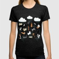 Raining Cats & Dogs Womens Fitted Tee Tri-Black SMALL