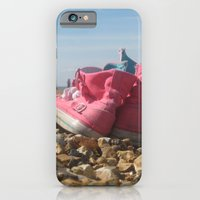 Pink shoes relaxing on the beach iPhone 6 Slim Case