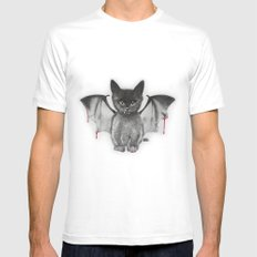 Cat Bat White SMALL Mens Fitted Tee
