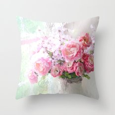 Peonies Impressionistic Throw Pillow
