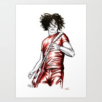 Jack White Red Watercolor Art Print