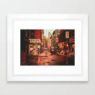 New York City Rain In Ch… Framed Art Print