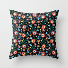 Folk Floral (Black) Throw Pillow