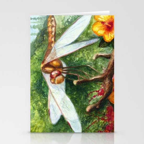Amber Dragonfly Stationery Card