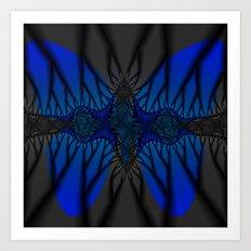 Blue fractal Butterfly Art Print