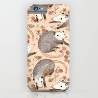 iPhone Cases featuring Opossum and Roses by Gwendolyn Wood