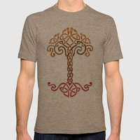 Woven Tree of Life Mens Fitted Tee Tri-Coffee SMALL
